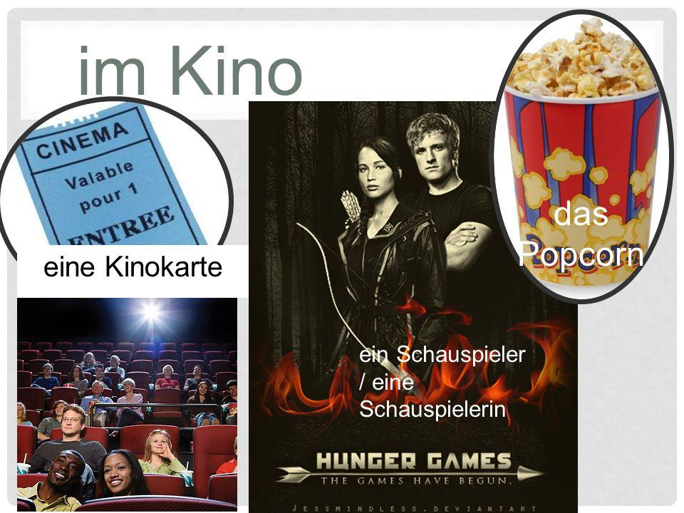 im Kino ein Schauspieler / eine Schauspielerin das Popcorn eine Kinokarte
