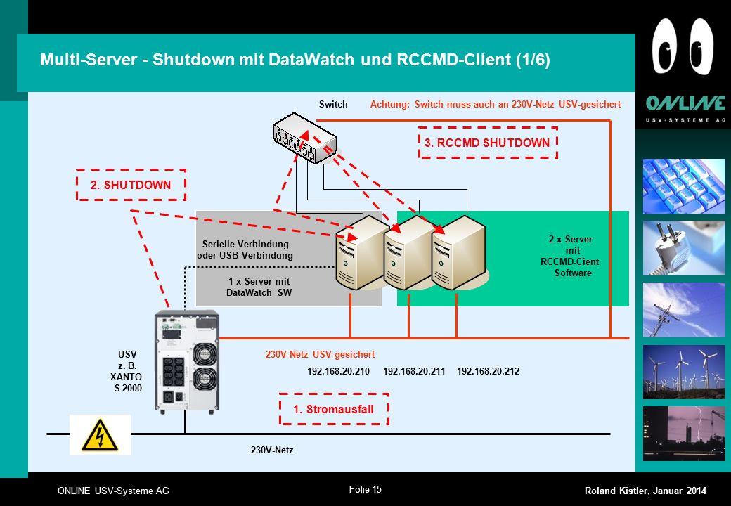 Folie 15 ONLINE USV-Systeme AG Roland Kistler, Januar 2014 2 x Server mit RCCMD-Cient Software Multi-Server - Shutdown mit DataWatch und RCCMD-Client