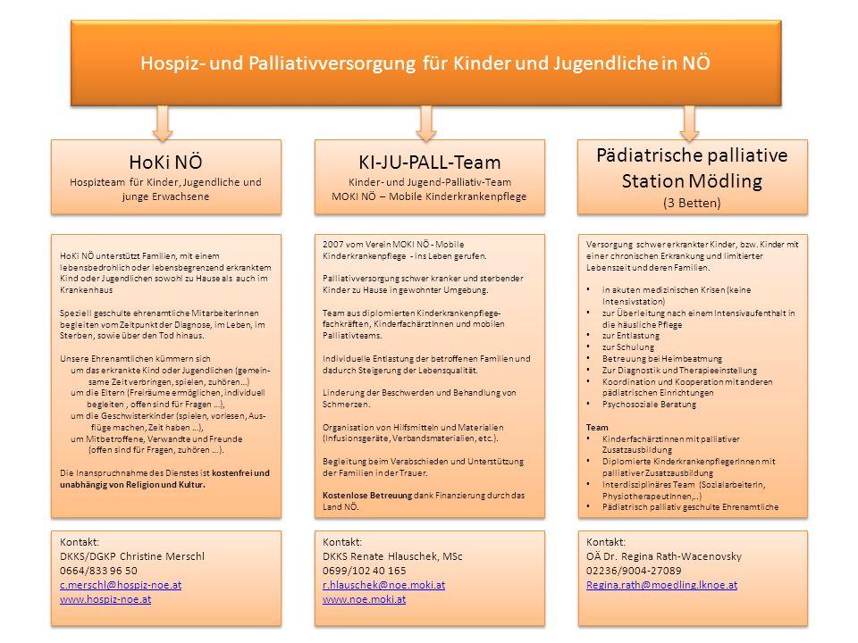 Hospiz- und Palliativversorgung für Kinder und Jugendliche in NÖ HoKi NÖ Hospizteam für Kinder, Jugendliche und junge Erwachsene HoKi NÖ Hospizteam fü