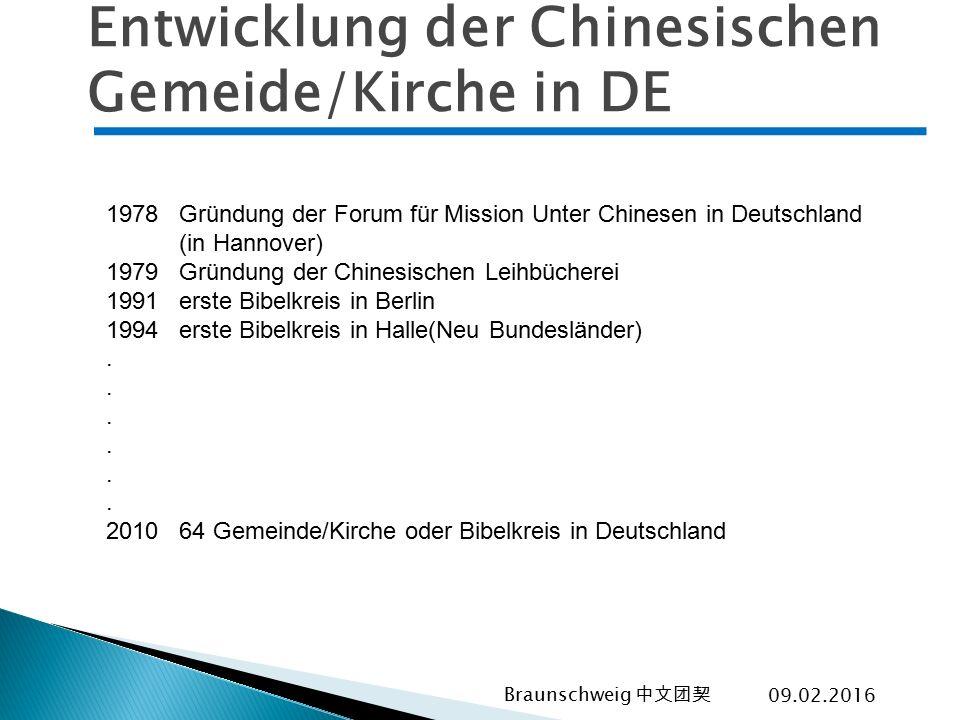 Entwicklung der Chinesischen Gemeide/Kirche in DE 1978 Gründung der Forum für Mission Unter Chinesen in Deutschland (in Hannover) 1979 Gründung der Ch