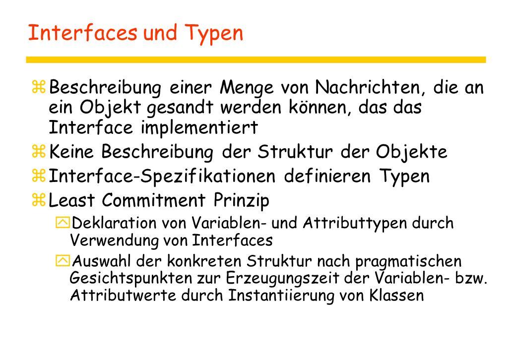 Interfaces und Typen zBeschreibung einer Menge von Nachrichten, die an ein Objekt gesandt werden können, das das Interface implementiert zKeine Beschreibung der Struktur der Objekte zInterface-Spezifikationen definieren Typen zLeast Commitment Prinzip yDeklaration von Variablen- und Attributtypen durch Verwendung von Interfaces yAuswahl der konkreten Struktur nach pragmatischen Gesichtspunkten zur Erzeugungszeit der Variablen- bzw.