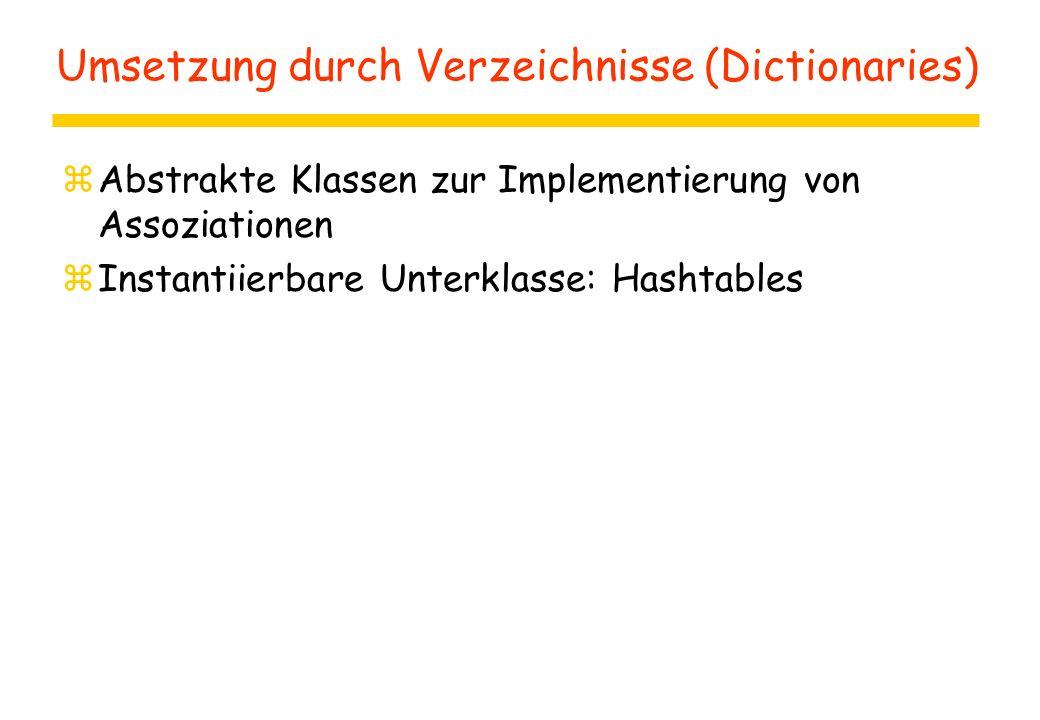 Umsetzung durch Verzeichnisse (Dictionaries) zAbstrakte Klassen zur Implementierung von Assoziationen zInstantiierbare Unterklasse: Hashtables