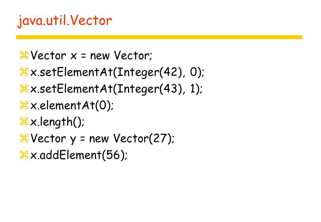 java.util.Vector zVector x = new Vector; zx.setElementAt(Integer(42), 0); zx.setElementAt(Integer(43), 1); zx.elementAt(0); zx.length(); zVector y = new Vector(27); zx.addElement(56);