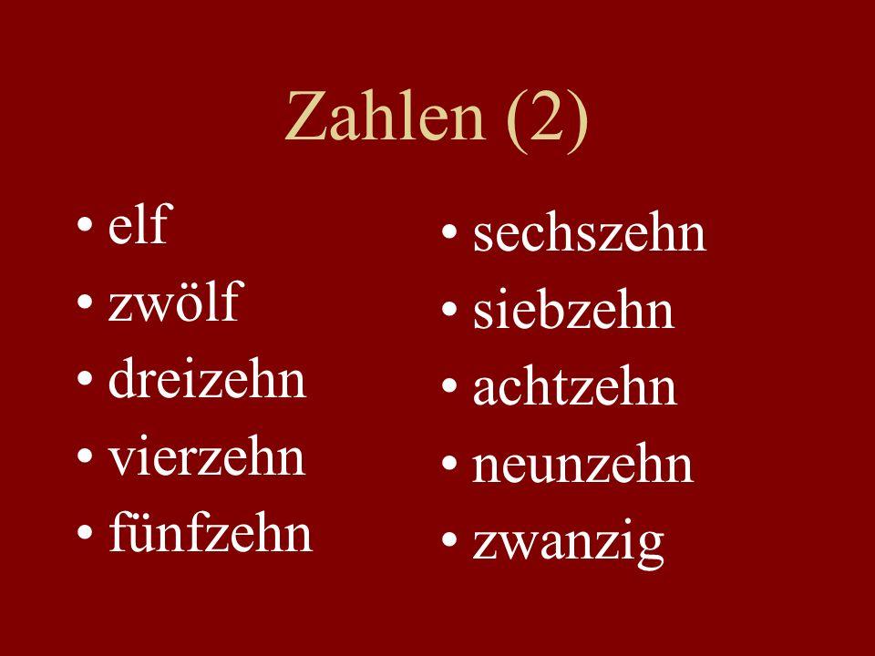 Zahlen (2) elf zwölf dreizehn vierzehn fünfzehn sechszehn siebzehn achtzehn neunzehn zwanzig