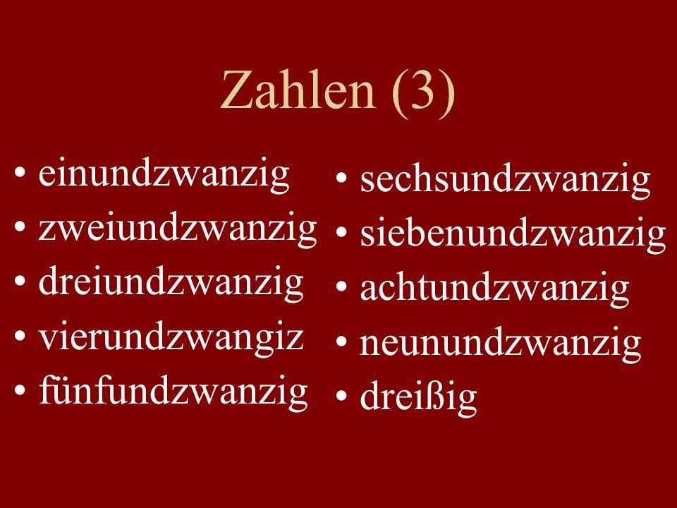 Zahlen (3) einundzwanzig zweiundzwanzig dreiundzwanzig vierundzwangiz fünfundzwanzig sechsundzwanzig siebenundzwanzig achtundzwanzig neunundzwanzig dreißig