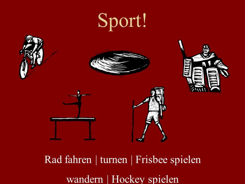 Sport! Rad fahren | turnen | Frisbee spielen wandern | Hockey spielen