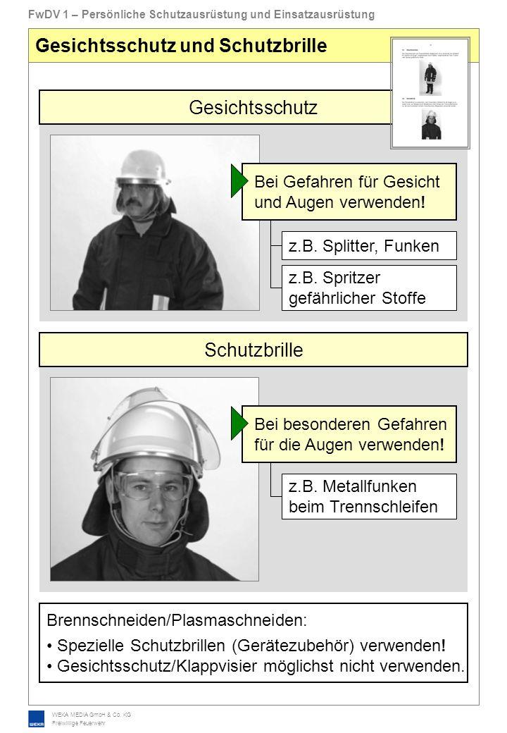 WEKA MEDIA GmbH & Co. KG Freiwillige Feuerwehr FwDV 1 – Persönliche Schutzausrüstung und Einsatzausrüstung Gesichtsschutz und Schutzbrille Gesichtssch