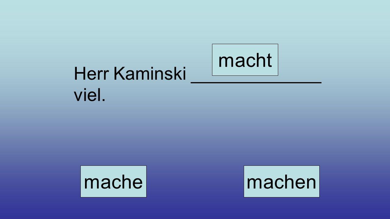 Herr Kaminski _____________ viel. mache macht machen