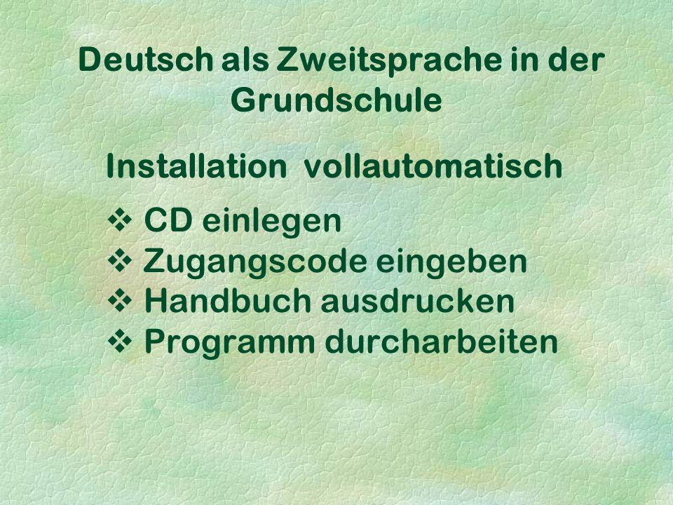 Deutsch als Zweitsprache in der Grundschule Installation vollautomatisch  CD einlegen  Zugangscode eingeben  Handbuch ausdrucken  Programm durcharbeiten