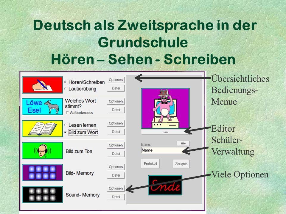 Deutsch als Zweitsprache in der Grundschule Hören – Sehen - Schreiben Übersichtliches Bedienungs- Menue Editor Schüler- Verwaltung Viele Optionen