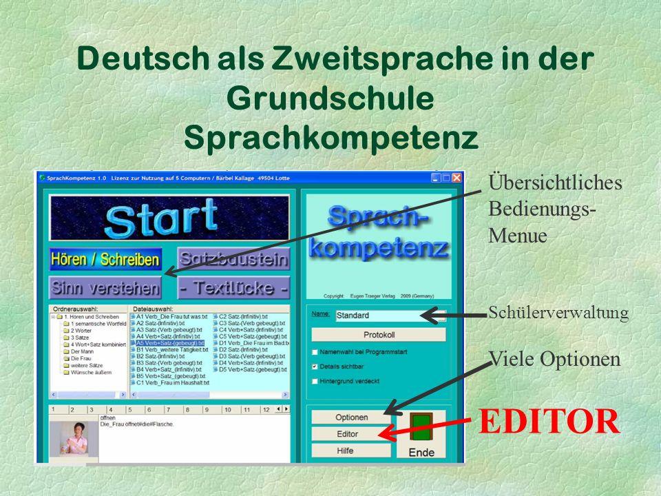 Deutsch als Zweitsprache in der Grundschule Sprachkompetenz Übersichtliches Bedienungs- Menue Schülerverwaltung Viele Optionen EDITOR