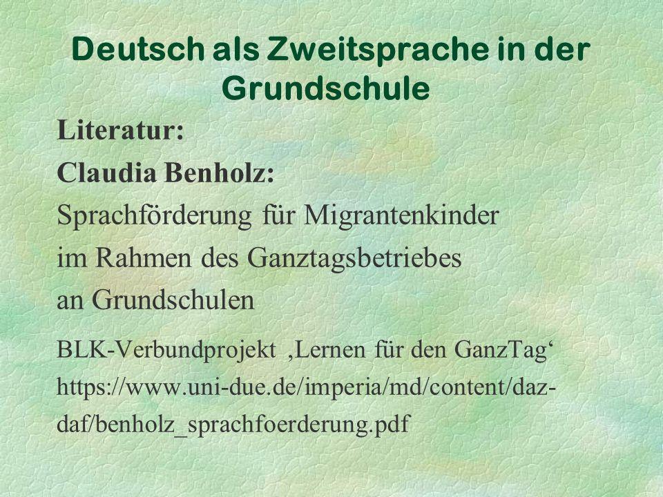 Deutsch als Zweitsprache in der Grundschule Was bedeutet Menue?