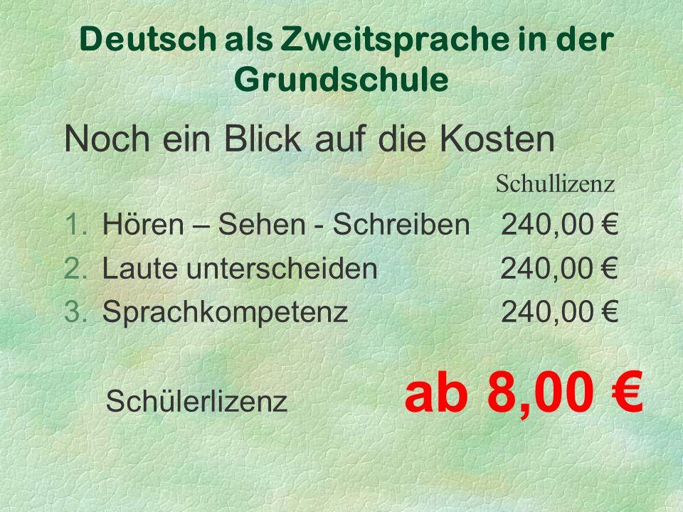Deutsch als Zweitsprache in der Grundschule Noch ein Blick auf die Kosten Schullizenz 1.Hören – Sehen - Schreiben 240,00 € 2.Laute unterscheiden 240,00 € 3.Sprachkompetenz 240,00 € Schülerlizenz ab 8,00 €
