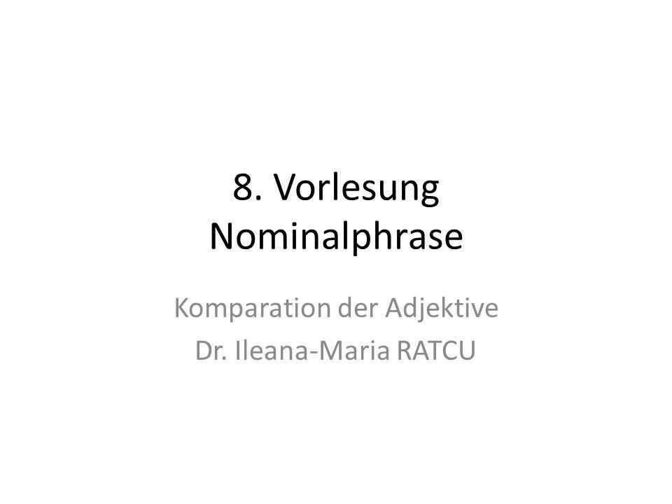 Die Komparation/ Steigerung des Adjektivs Das Adjektiv hat drei Steigerungsstufen: – Positiv, auch Grundstufe genannt – Komparativ, auch Vergleichsstufe genannt – Superlativ, auch Höchststufe genannt Es gibt eine regelmäßige und eine unregelmäßige Steigerung.