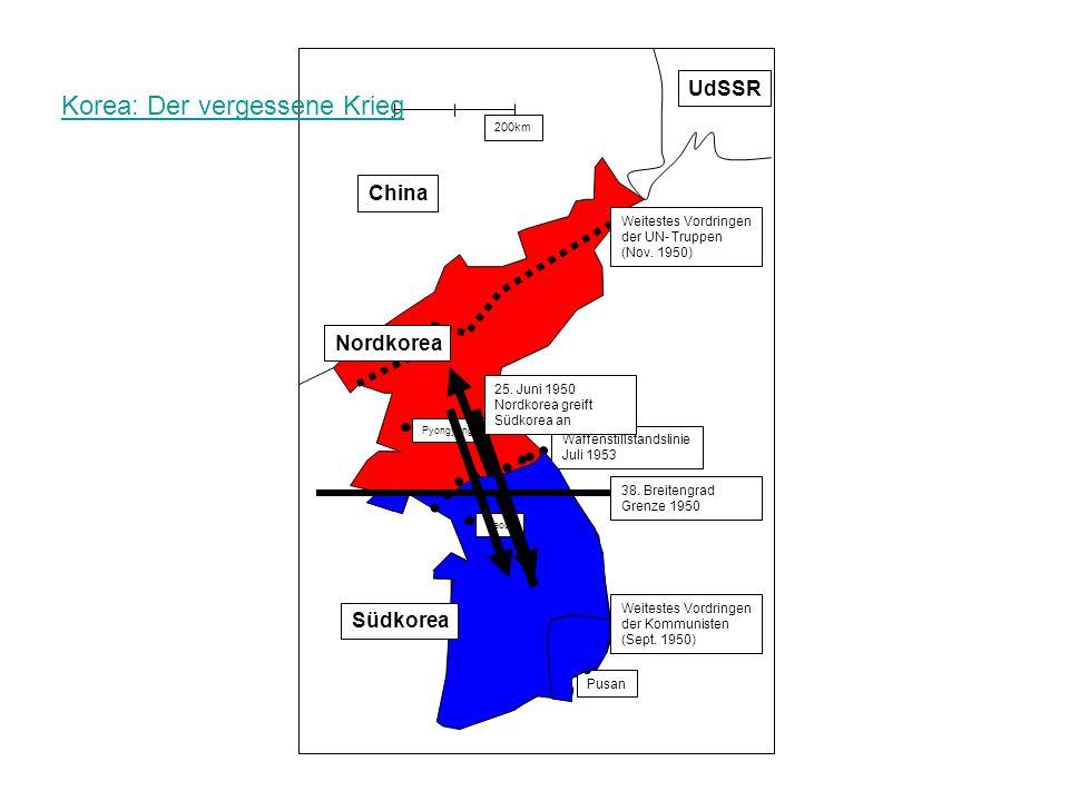 Pyongyang Weitestes Vordringen der UN- Truppen (Nov. 1950) Weitestes Vordringen der Kommunisten (Sept. 1950) Pusan Seoul 38. Breitengrad Grenze 1950 W