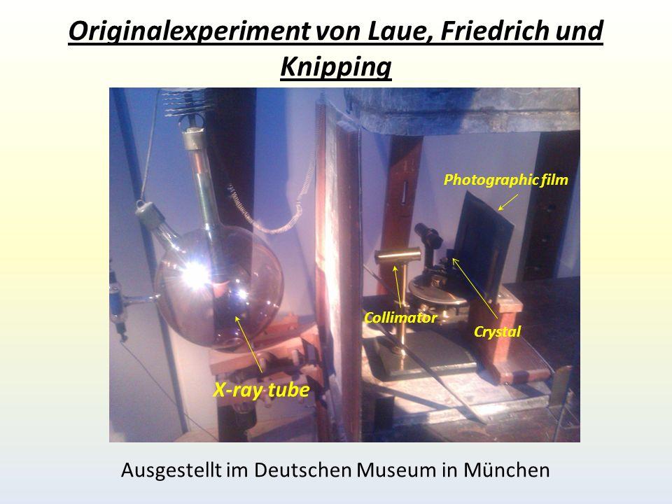 Originalexperiment von Laue, Friedrich und Knipping X-ray tube Collimator Photographic film Crystal Ausgestellt im Deutschen Museum in München