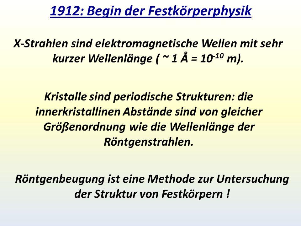 1912: Begin der Festkörperphysik X-Strahlen sind elektromagnetische Wellen mit sehr kurzer Wellenlänge ( ~ 1 Å = 10 -10 m).