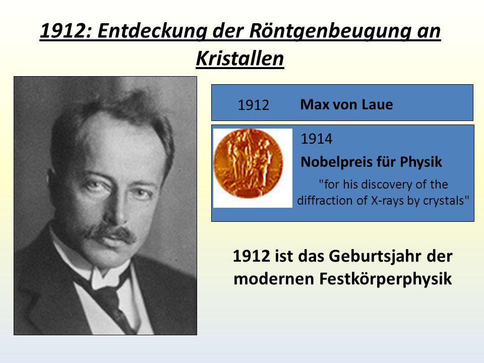 1912: Entdeckung der Röntgenbeugung an Kristallen Max von Laue 1912 1914 Nobelpreis für Physik for his discovery of the diffraction of X-rays by crystals 1912 ist das Geburtsjahr der modernen Festkörperphysik