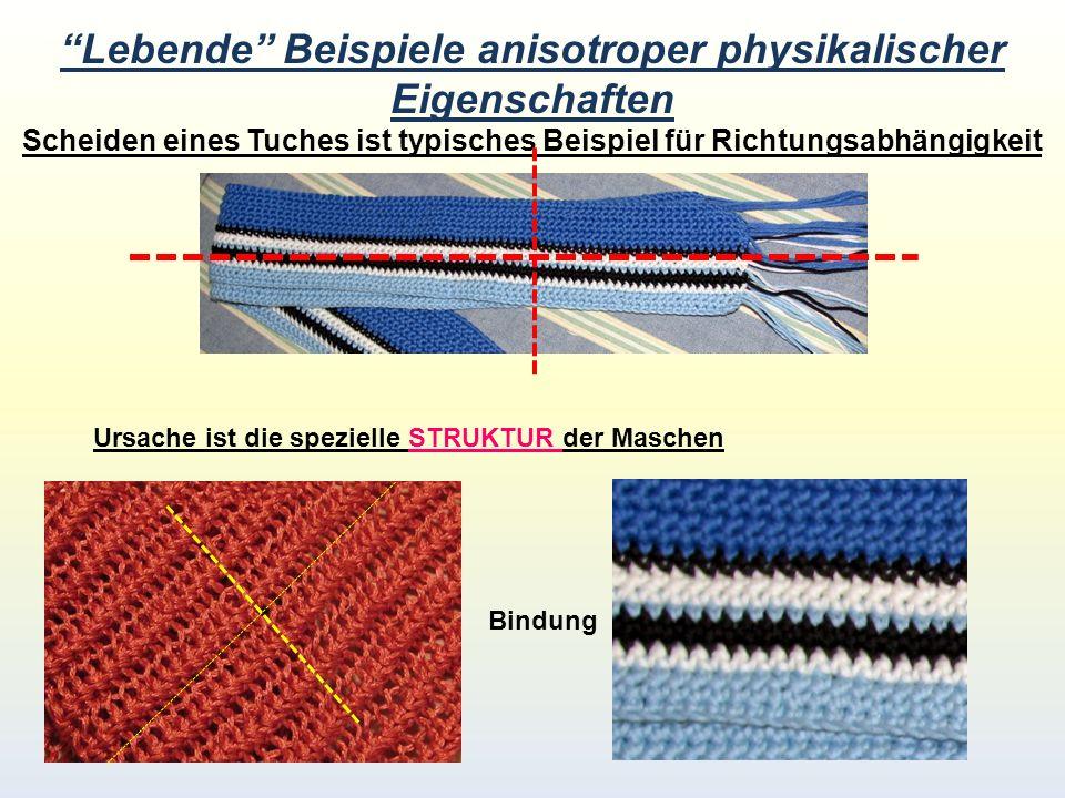 Lebende Beispiele anisotroper physikalischer Eigenschaften Scheiden eines Tuches ist typisches Beispiel für Richtungsabhängigkeit Ursache ist die spezielle STRUKTUR der Maschen Bindung