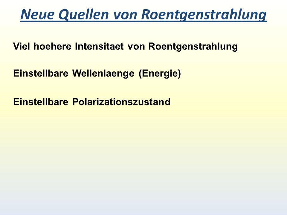 Neue Quellen von Roentgenstrahlung Viel hoehere Intensitaet von Roentgenstrahlung Einstellbare Wellenlaenge (Energie) Einstellbare Polarizationszustand