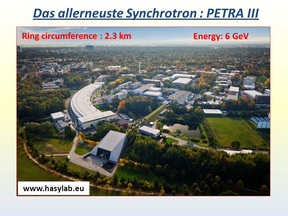 Das allerneuste Synchrotron : PETRA III Ring circumference : 2.3 km Energy: 6 GeV www.hasylab.eu
