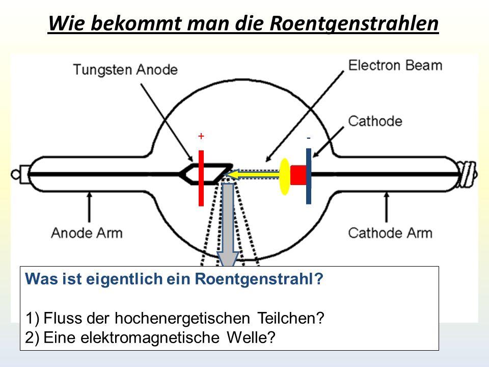 Spektrum der elektromagnetischen Wellen Wenn die Roentgenstrahlung eine Welle wӓre (die gleiche Natur wie das sichtbare Licht) dann muesste sie die typischen Welleneigenschaften besitzen!