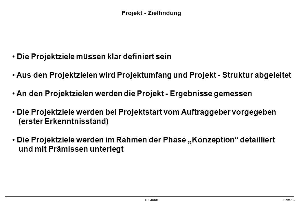 """IT GmbHSeite 13 Projekt - Zielfindung Die Projektziele müssen klar definiert sein Aus den Projektzielen wird Projektumfang und Projekt - Struktur abgeleitet An den Projektzielen werden die Projekt - Ergebnisse gemessen Die Projektziele werden bei Projektstart vom Auftraggeber vorgegeben (erster Erkenntnisstand) Die Projektziele werden im Rahmen der Phase """"Konzeption detailliert und mit Prämissen unterlegt"""