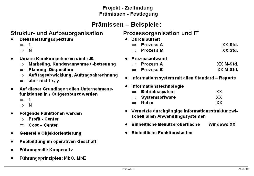 IT GmbHSeite 18 Projekt - Zielfindung Prämissen - Festlegung