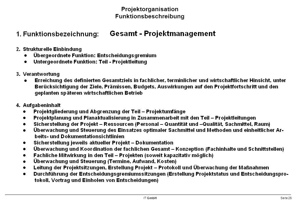 IT GmbHSeite 25 Projektorganisation Funktionsbeschreibung