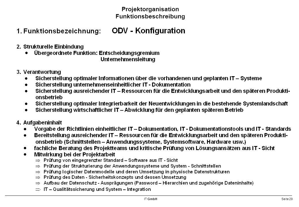IT GmbHSeite 29 Projektorganisation Funktionsbeschreibung