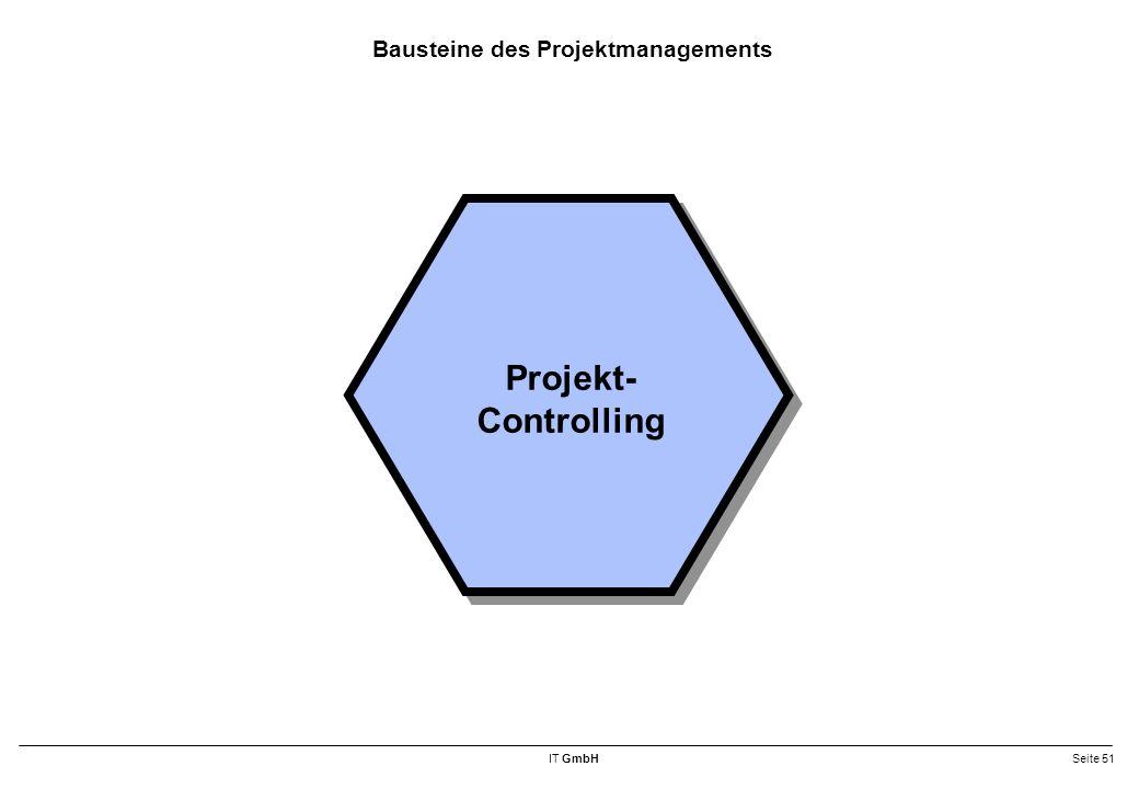 IT GmbHSeite 51 Bausteine des Projektmanagements Projekt- Controlling