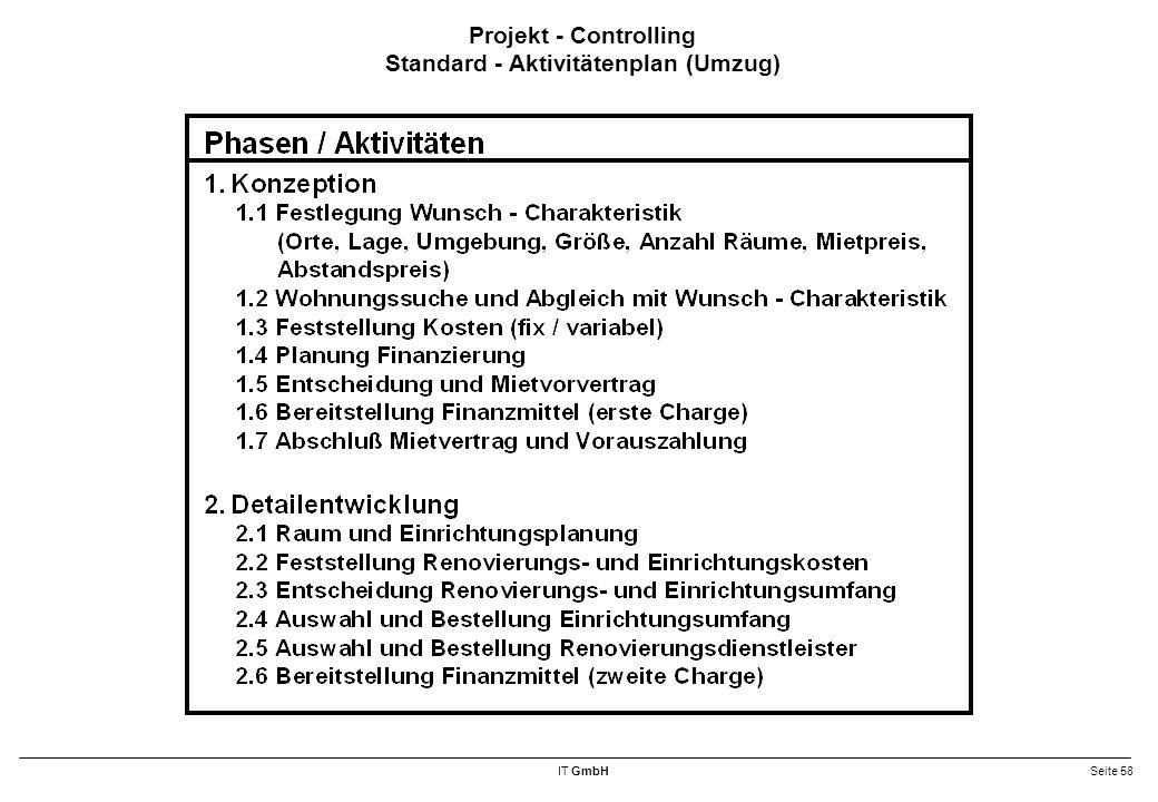 IT GmbHSeite 58 Projekt - Controlling Standard - Aktivitätenplan (Umzug)