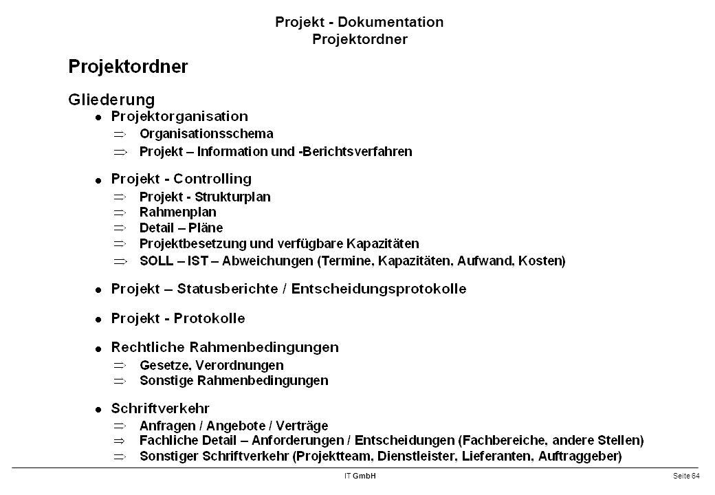 IT GmbHSeite 64 Projekt - Dokumentation Projektordner
