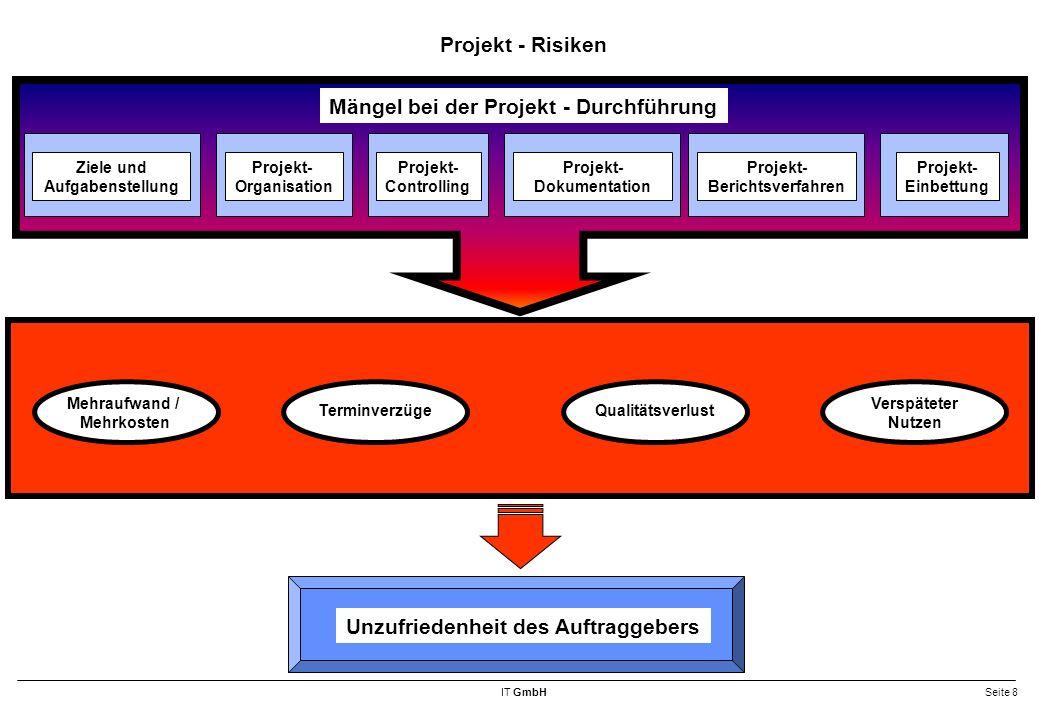 IT GmbHSeite 19 Bausteine des Projektmanagements Projekt- Organisation