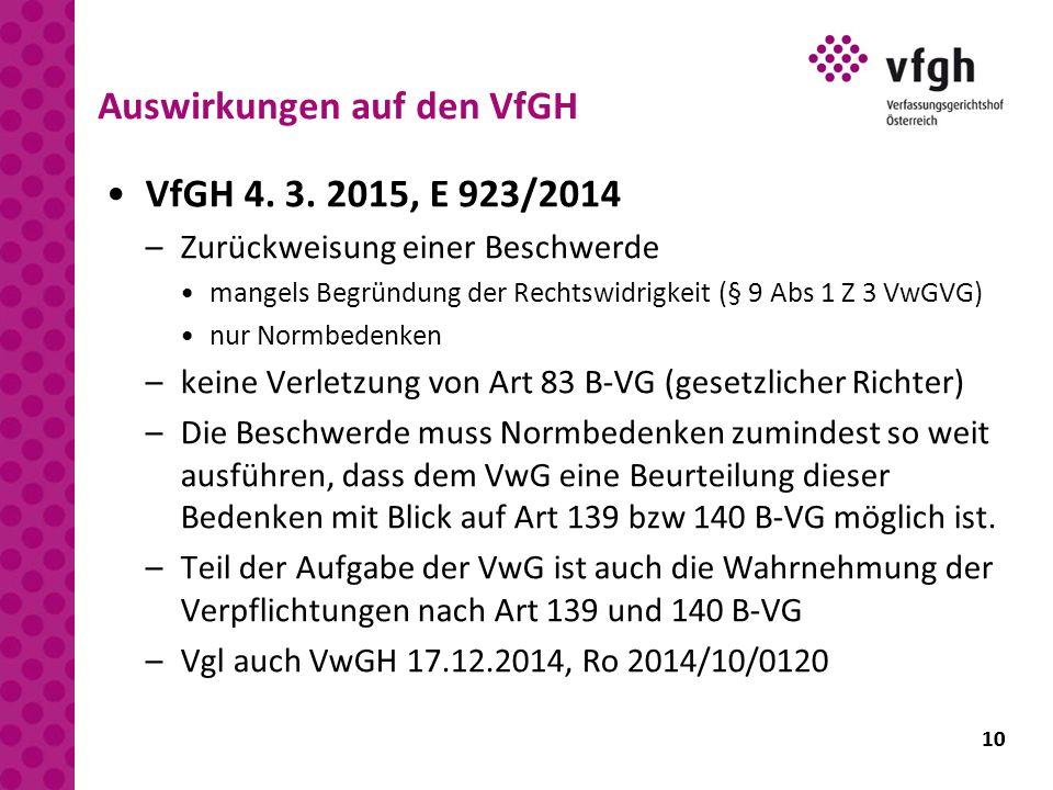 10 Auswirkungen auf den VfGH VfGH 4. 3. 2015, E 923/2014 –Zurückweisung einer Beschwerde mangels Begründung der Rechtswidrigkeit (§ 9 Abs 1 Z 3 VwGVG)