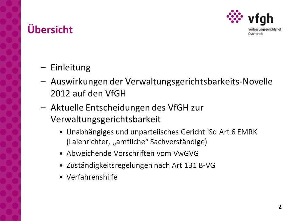 2 Übersicht –Einleitung –Auswirkungen der Verwaltungsgerichtsbarkeits-Novelle 2012 auf den VfGH –Aktuelle Entscheidungen des VfGH zur Verwaltungsgeric