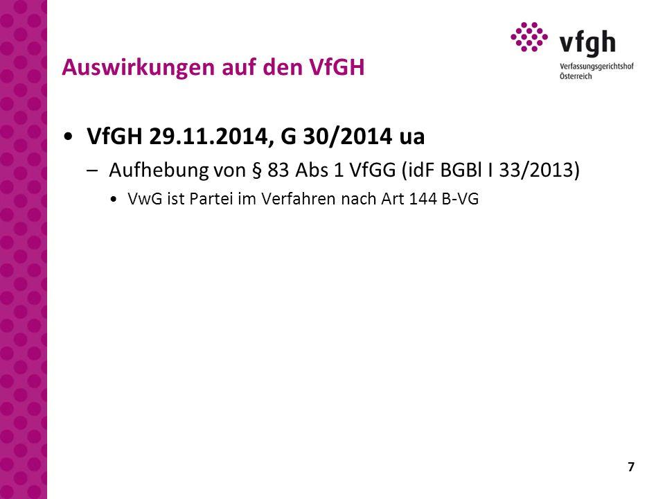 7 Auswirkungen auf den VfGH VfGH 29.11.2014, G 30/2014 ua –Aufhebung von § 83 Abs 1 VfGG (idF BGBl I 33/2013) VwG ist Partei im Verfahren nach Art 144