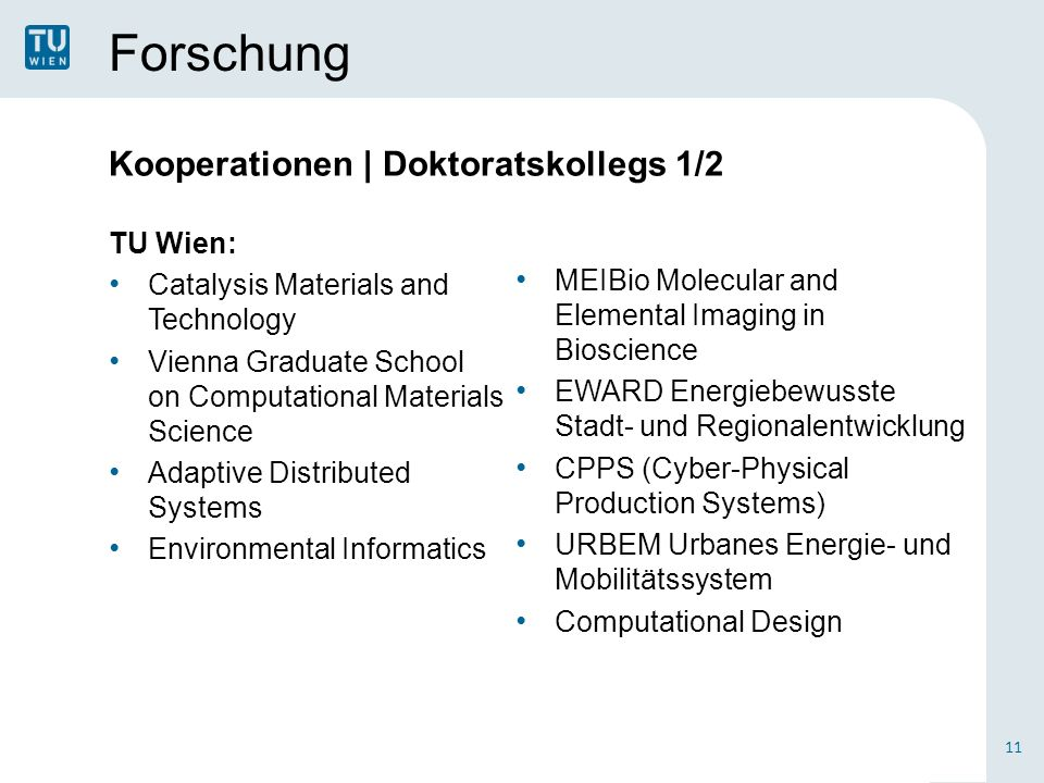 Forschung Kooperationen | Doktoratskollegs 1/2 TU Wien: Catalysis Materials and Technology Vienna Graduate School on Computational Materials Science Adaptive Distributed Systems Environmental Informatics 11 MEIBio Molecular and Elemental Imaging in Bioscience EWARD Energiebewusste Stadt- und Regionalentwicklung CPPS (Cyber-Physical Production Systems) URBEM Urbanes Energie- und Mobilitätssystem Computational Design