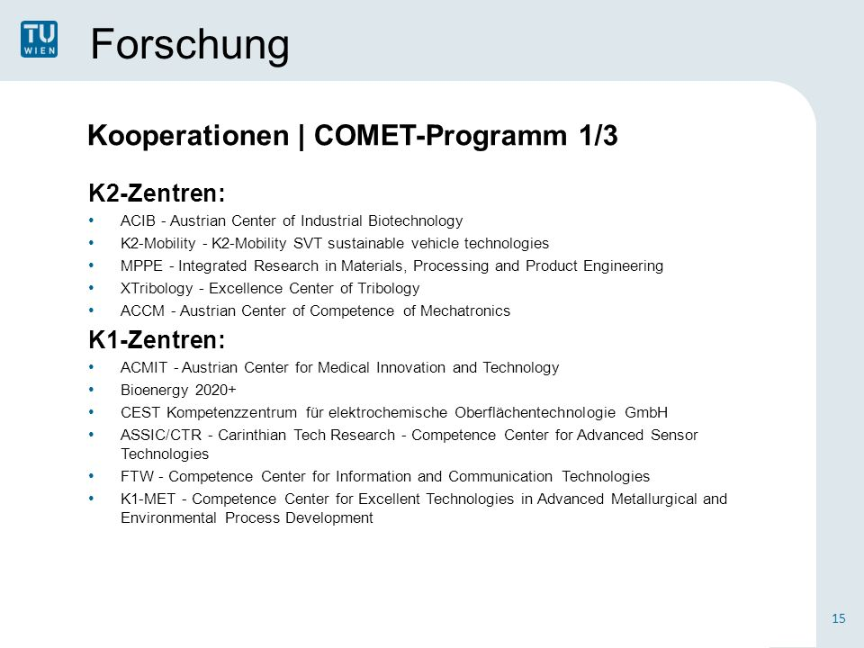 Forschung K2-Zentren: ACIB - Austrian Center of Industrial Biotechnology K2-Mobility - K2-Mobility SVT sustainable vehicle technologies MPPE - Integrated Research in Materials, Processing and Product Engineering XTribology - Excellence Center of Tribology ACCM - Austrian Center of Competence of Mechatronics K1-Zentren: ACMIT - Austrian Center for Medical Innovation and Technology Bioenergy 2020+ CEST Kompetenzzentrum für elektrochemische Oberflächentechnologie GmbH ASSIC/CTR - Carinthian Tech Research - Competence Center for Advanced Sensor Technologies FTW - Competence Center for Information and Communication Technologies K1-MET - Competence Center for Excellent Technologies in Advanced Metallurgical and Environmental Process Development 15 Kooperationen | COMET-Programm 1/3