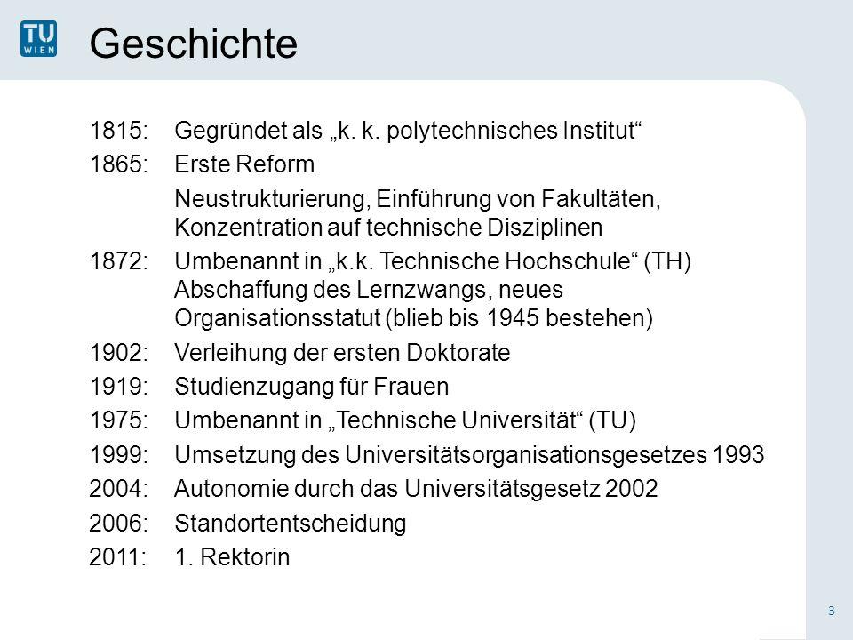 Geschichte 4 200 Jahre TU Wien: 1815 - 2015 200 Jahre Technik für Menschen Am 6.