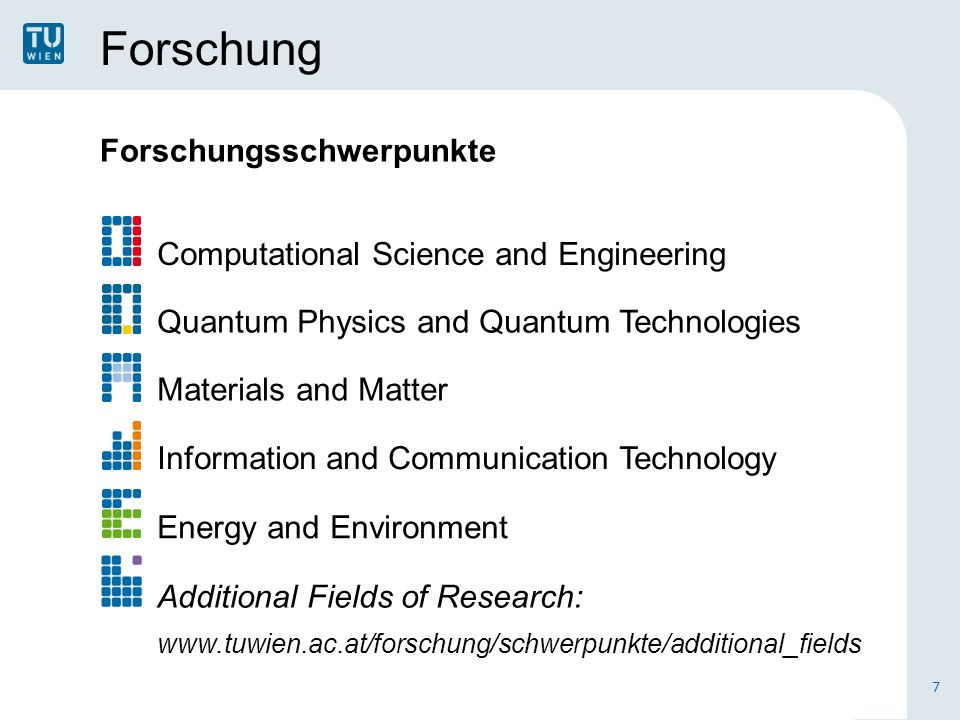 Forschung Forschungsschwerpunkte 7 Computational Science and Engineering Quantum Physics and Quantum Technologies Materials and Matter Information and Communication Technology Energy and Environment Additional Fields of Research: www.tuwien.ac.at/forschung/schwerpunkte/additional_fields