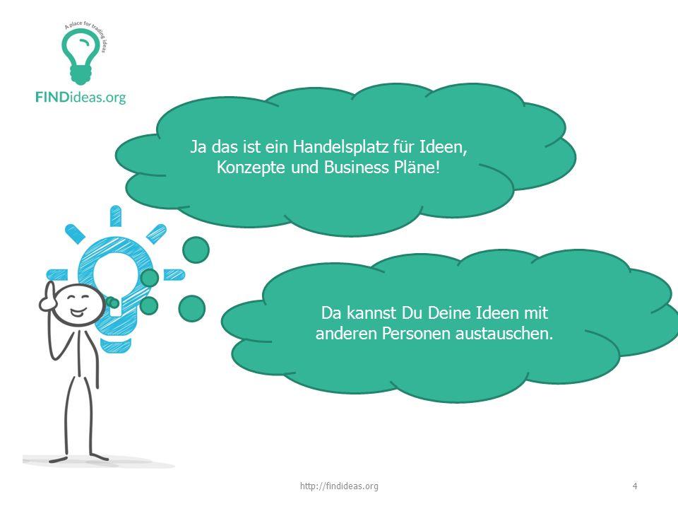 4http://findideas.org Ja das ist ein Handelsplatz für Ideen, Konzepte und Business Pläne.