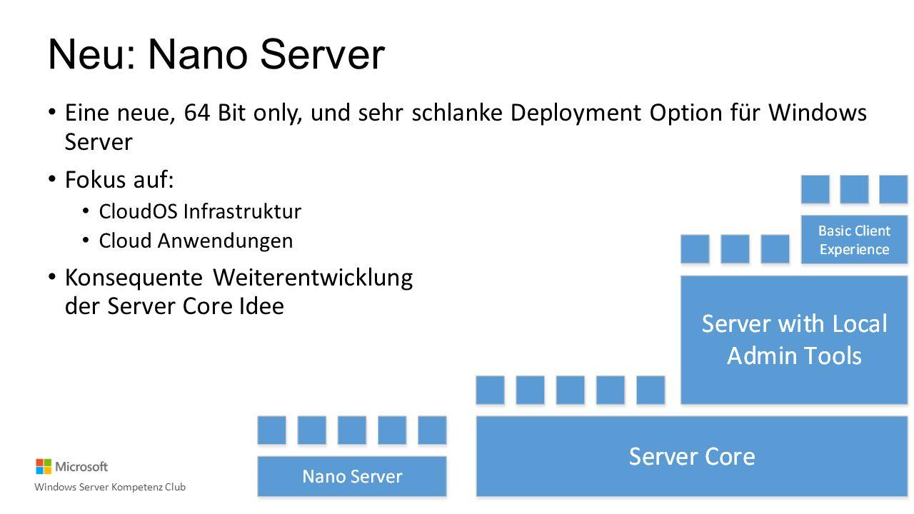 Personal Session Desktops Durchgängiger Support für Generation 2 VMs Vollständige Stift Unterstützung Edge Unterstützung RemoteFX Unterstützung für RDS VMs Windows Multipoint Services als Rolle Neuer RDS Client Windows Server Kompetenz Club