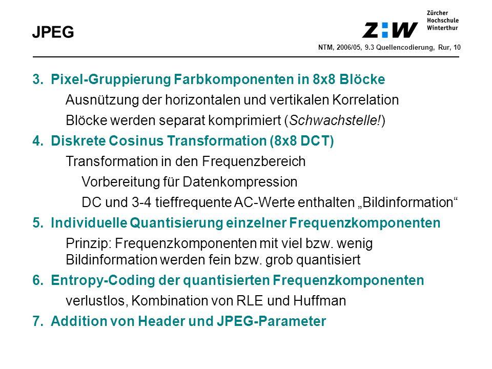 """JPEG 3.Pixel-Gruppierung Farbkomponenten in 8x8 Blöcke Ausnützung der horizontalen und vertikalen Korrelation Blöcke werden separat komprimiert (Schwachstelle!) 4.Diskrete Cosinus Transformation (8x8 DCT) Transformation in den Frequenzbereich Vorbereitung für Datenkompression DC und 3-4 tieffrequente AC-Werte enthalten """"Bildinformation 5.Individuelle Quantisierung einzelner Frequenzkomponenten Prinzip: Frequenzkomponenten mit viel bzw."""