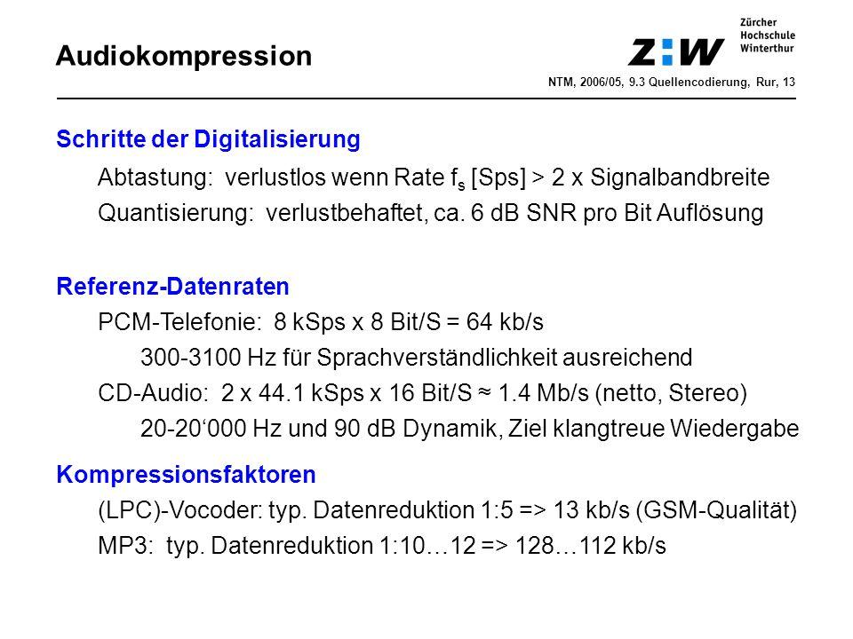Audiokompression Schritte der Digitalisierung Abtastung: verlustlos wenn Rate f s [Sps] > 2 x Signalbandbreite Quantisierung: verlustbehaftet, ca.
