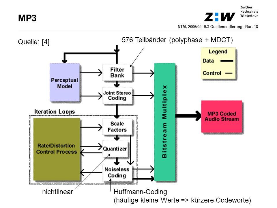 576 Teilbänder (polyphase + MDCT) Huffmann-Coding (häufige kleine Werte => kürzere Codeworte) nichtlinear Quelle: [4] MP3 NTM, 2006/05, 9.3 Quellencodierung, Rur, 18