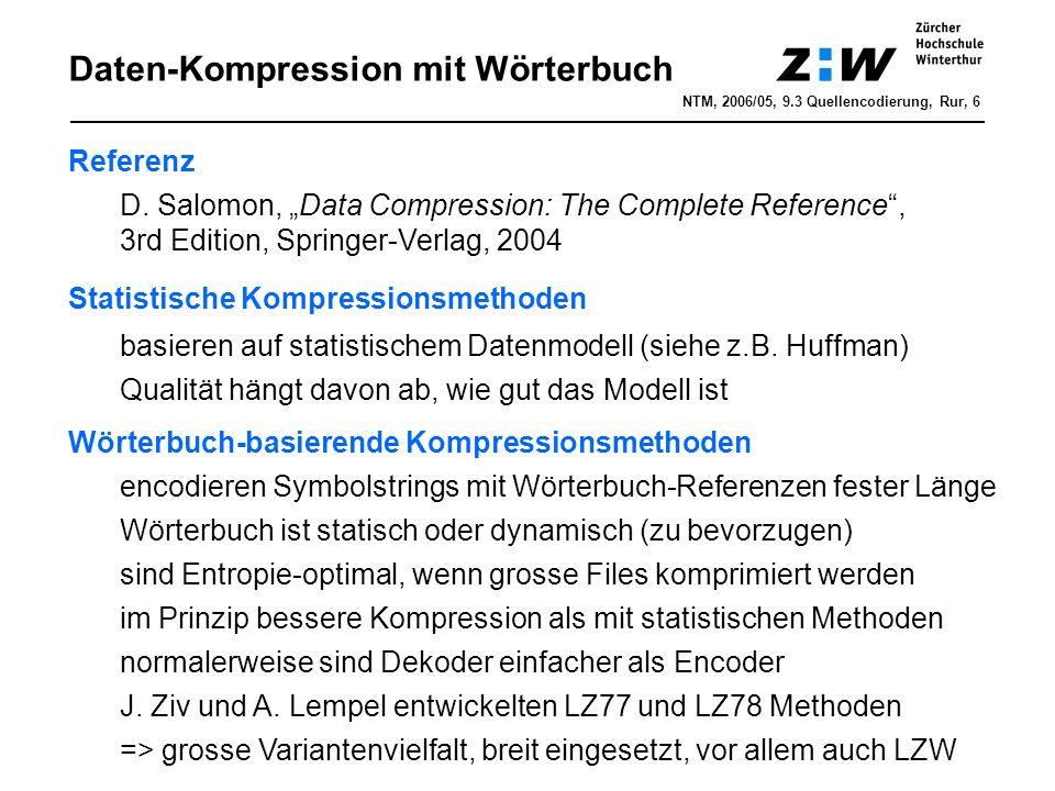 Daten-Kompression mit Wörterbuch Referenz D.