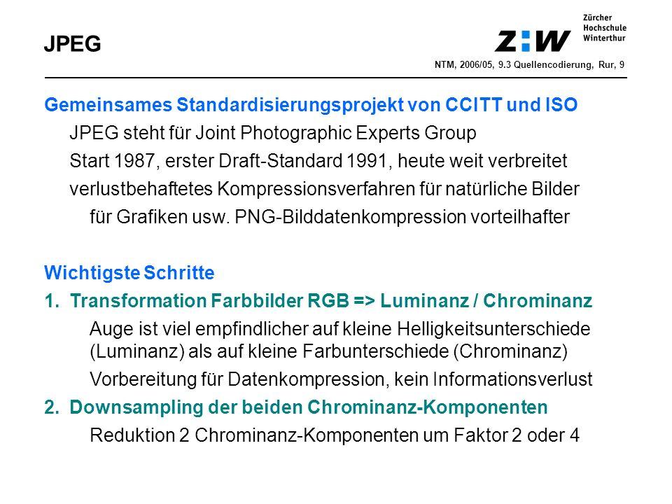 JPEG Gemeinsames Standardisierungsprojekt von CCITT und ISO JPEG steht für Joint Photographic Experts Group Start 1987, erster Draft-Standard 1991, heute weit verbreitet verlustbehaftetes Kompressionsverfahren für natürliche Bilder für Grafiken usw.