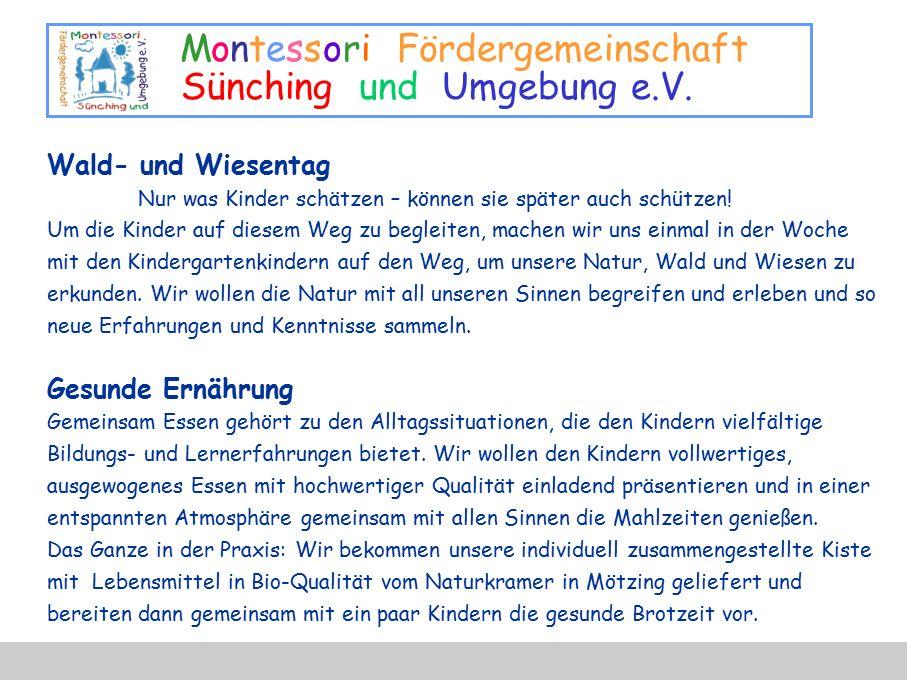 Montessori Fördergemeinschaft Sünching und Umgebung e.V. Wald- und Wiesentag Nur was Kinder schätzen – können sie später auch schützen! Um die Kinder