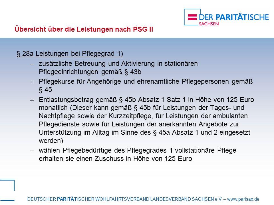 DEUTSCHER PARITÄTISCHER WOHLFAHRTSVERBAND LANDESVERBAND SACHSEN e.V. – www.parisax.de Übersicht über die Leistungen nach PSG II § 28a Leistungen bei P